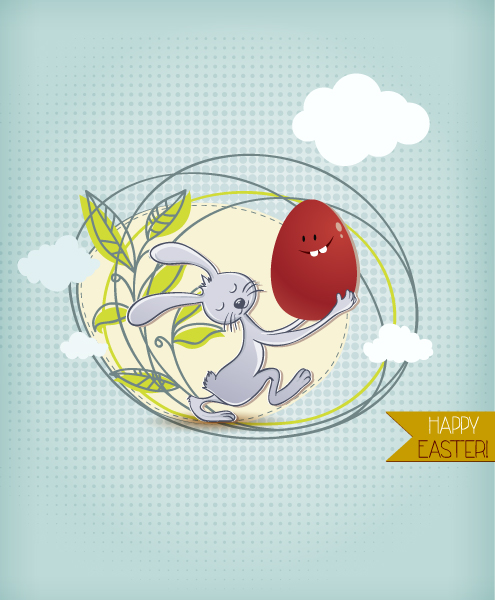 Amazing Illustration Vector Image: Easter Vector Image Illustration With Easter Egg 3