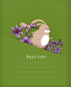 easter vector illustration with easter bunny and spring flowers Vector Illustrations floral