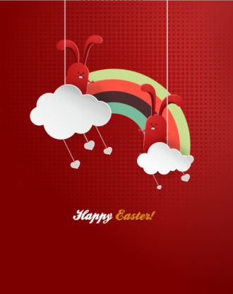 easter vector illustration with easter egg and ribbon Vector Illustrations floral