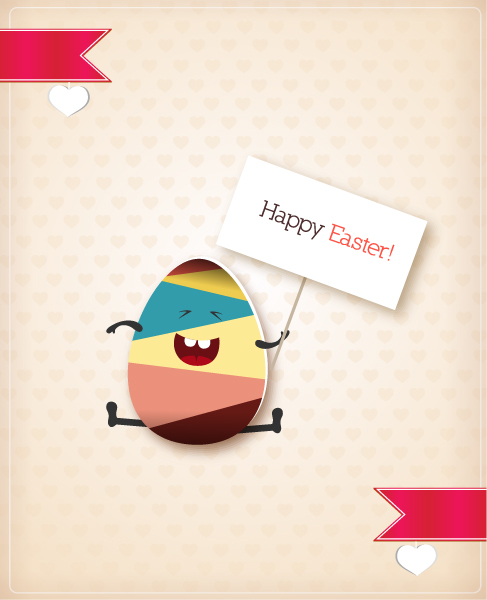 Cloud Vector Image: Easter Vector Image Illustration With Easter Egg And Ribbon 3