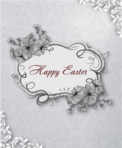 Stunning Easter Vector Art: Easter Vector Art Illustration With Easter Floral Frame 3