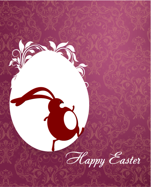 Download Easter Vector Art: Easter Vector Art Illustration With Easter Egg And Bunny 3