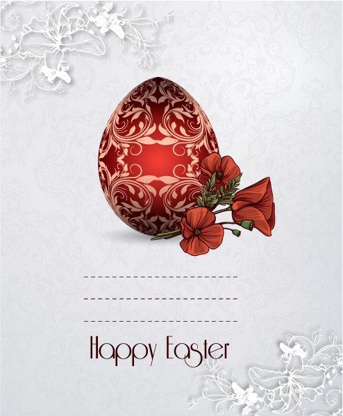 Amazing Egg Vector Background: Easter Vector Background Illustration With Sticker Easter Egg 3