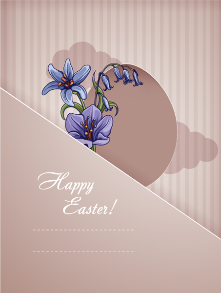 easter vector illustration with easter egg and spring flowers Vector Illustrations floral