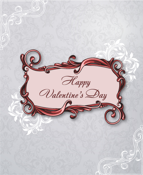 valentine's day vector illustration with flowal frame Vector Illustrations vector
