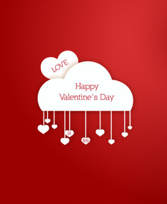 Valentine's Day vector illustration with paper hart and cloud Vector Illustrations floral