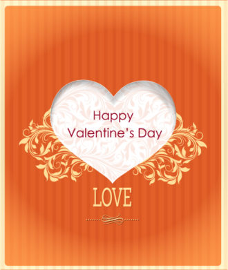 Valentine's Day vector illustration with paper hart and spring flowers Vector Illustrations floral