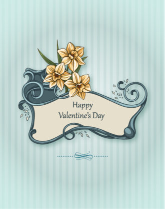Valentine's Day vector illustration with floral frame and spring flowers Vector Illustrations floral