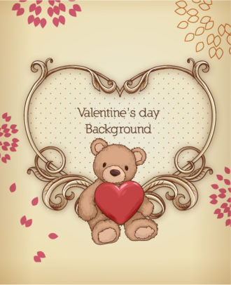 Valentine's Day vector illustration with floral hart and little bear Vector Illustrations floral
