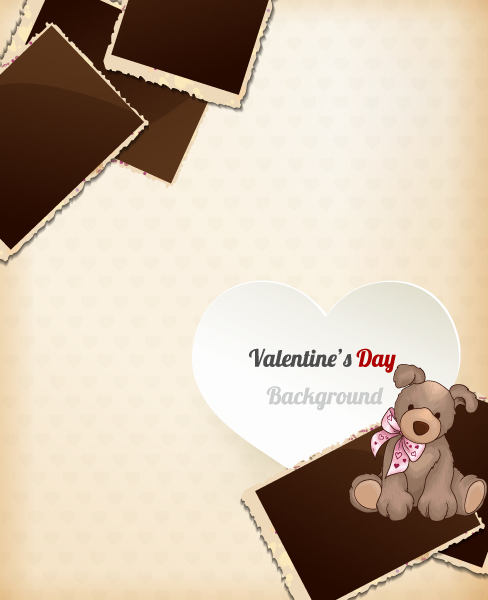 Valentine's Day vector illustration with hart and photo frame Vector Illustrations floral
