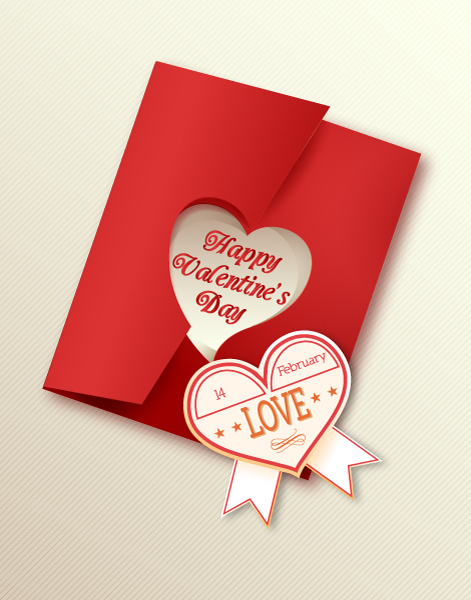 Valentine's Day vector illustration with sticker hart Vector Illustrations floral