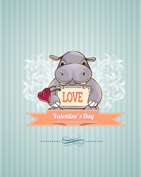 Gorgeous New Vector Graphic: Valentines Day Vector Graphic Illustration With Little Hippo 2015 05 05 889