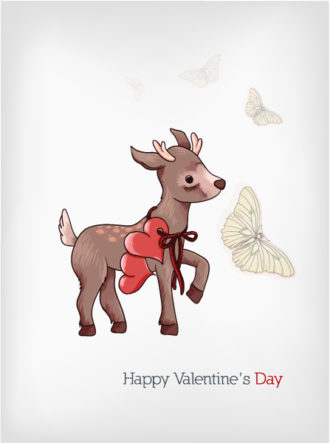 Valentine's Day vector illustration with little dear Vector Illustrations floral