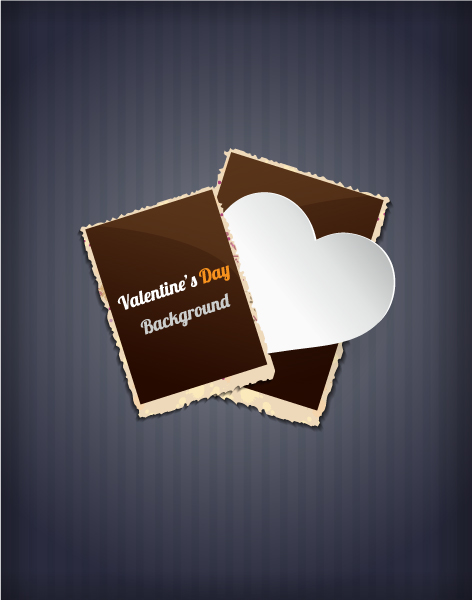 Valentine's Day vector illustration with photo frames and  sticker hart Vector Illustrations vector
