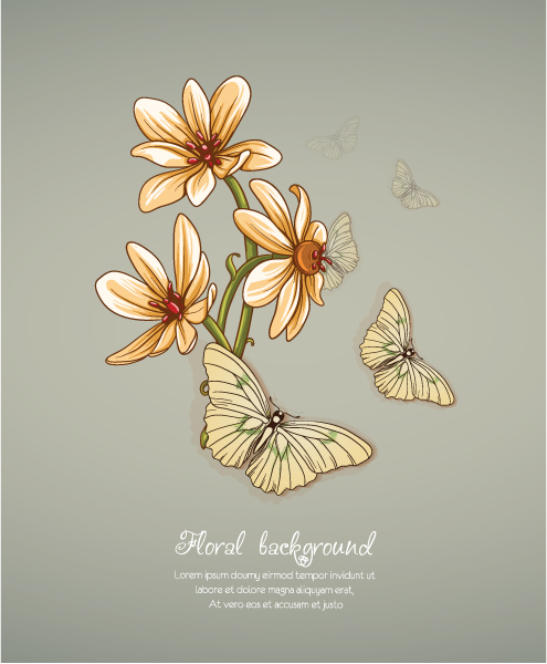 floral background vector illustration with spring flowers and butterflies Vector Illustrations floral