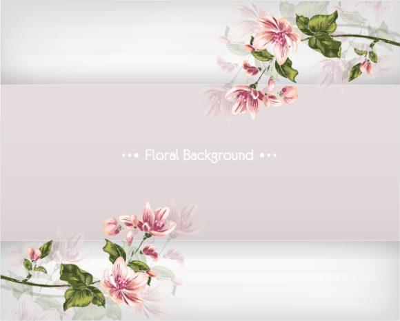 Spring Vector Background: Floral Background Vector Background Illustration With Spring Flowers 1