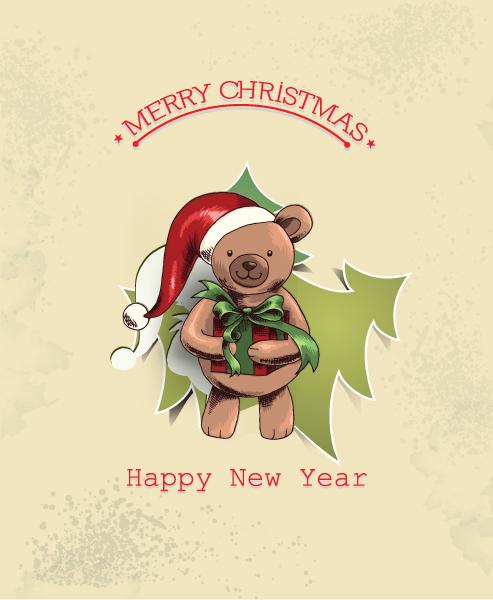 Trendy Bear Eps Vector: Christmas Eps Vector Illustration With Christmas Tree And Teddy Bear 2015 05 05 999