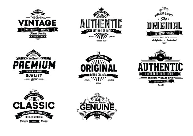 Vintage Creative Typographic Collection banners expanded Converted