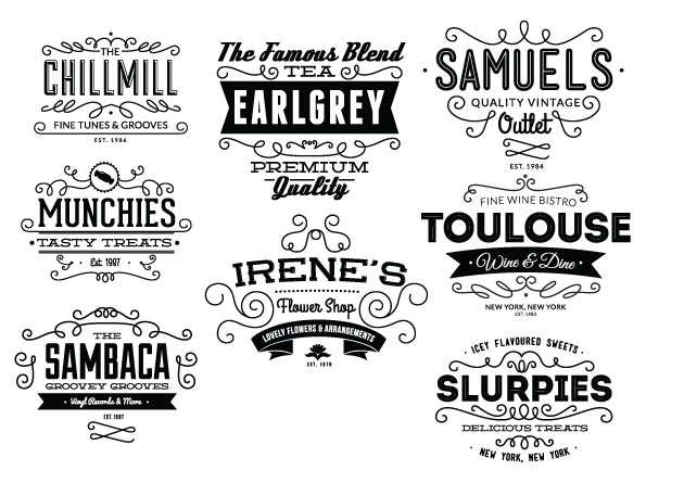 Vintage Creative Typographic Collection decorative expanded Converted