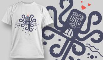 designious-tshirt-design-1454 T-shirt Designs and Templates t-shirt, vector, kraken, octopus, pop culture collection