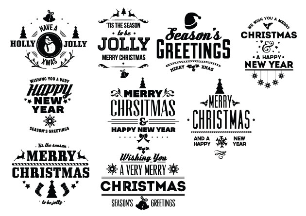 Vintage Creative Typographic Collection holiday expanded Converted
