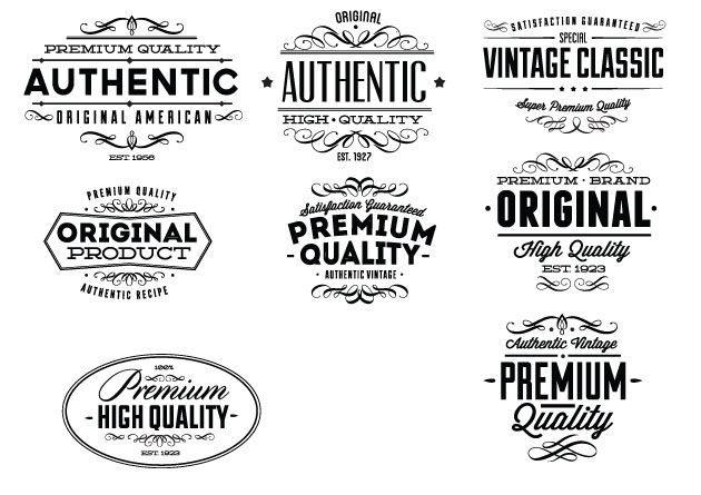 Vintage Creative Typographic Collection labels expanded Converted