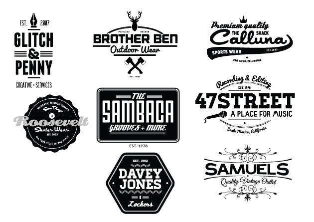 Vintage Creative Typographic Collection logos expanded Converted
