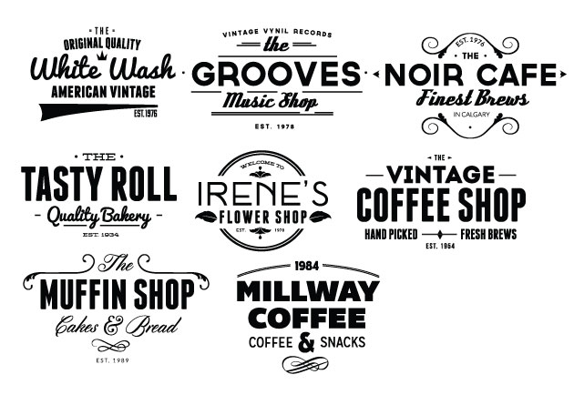 Vintage Creative Typographic Collection typebadges expanded Converted