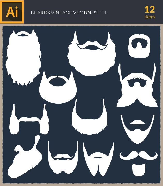 Free T-shirt Design Creator Tool vector beards vintage set1