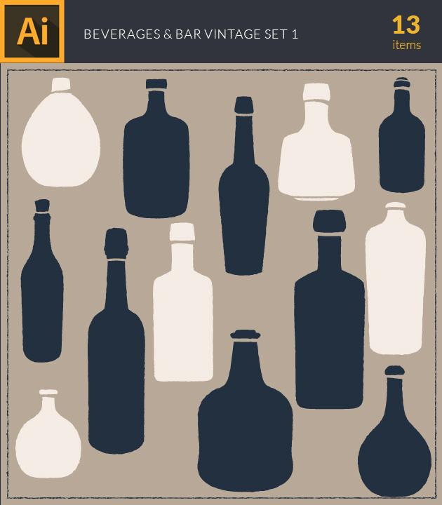 Free T-shirt Design Creator Tool vector beverage and bar vintage vector set1