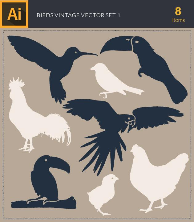 Free T-shirt Design Creator Tool vector birds vintage vector set1