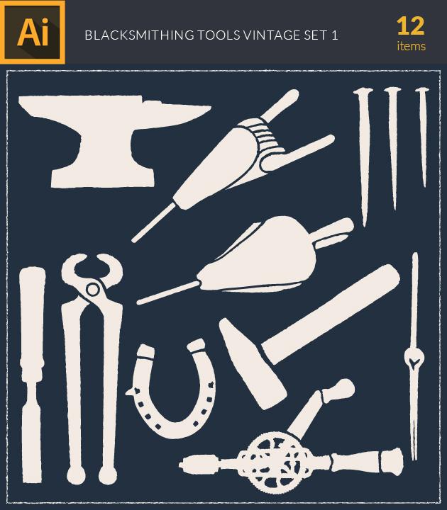 Free T-shirt Design Creator Tool vector blacksmith tools vintage vector set1