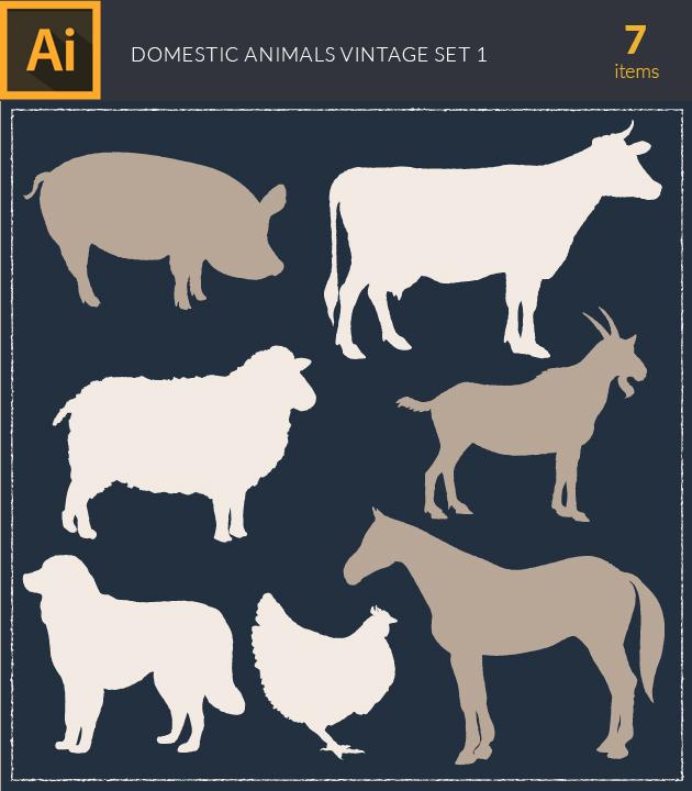 Free T-shirt Design Creator Tool vector domestic animals vintage vector set1