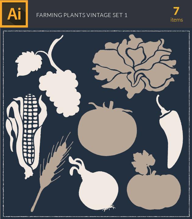 Free T-shirt Design Creator Tool vector farming plant vintage vector set1