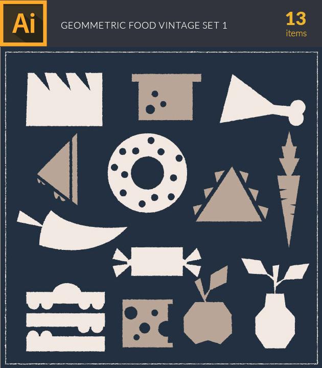 Free T-shirt Design Creator Tool vector food geometric vintage vector set 1