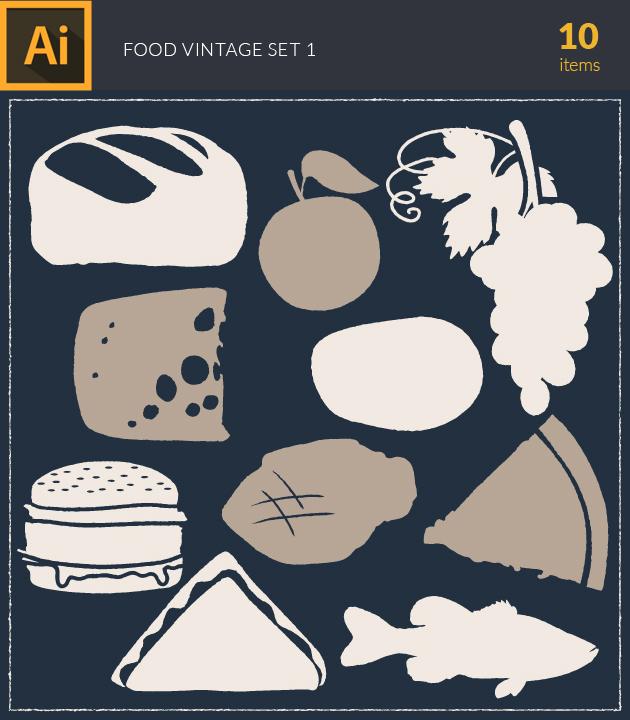 Free T-shirt Design Creator Tool vector food vintage vector set1