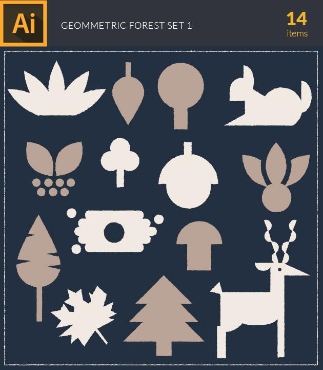 Free T-shirt Design Creator Tool vector forest geometric vintage vector set 1
