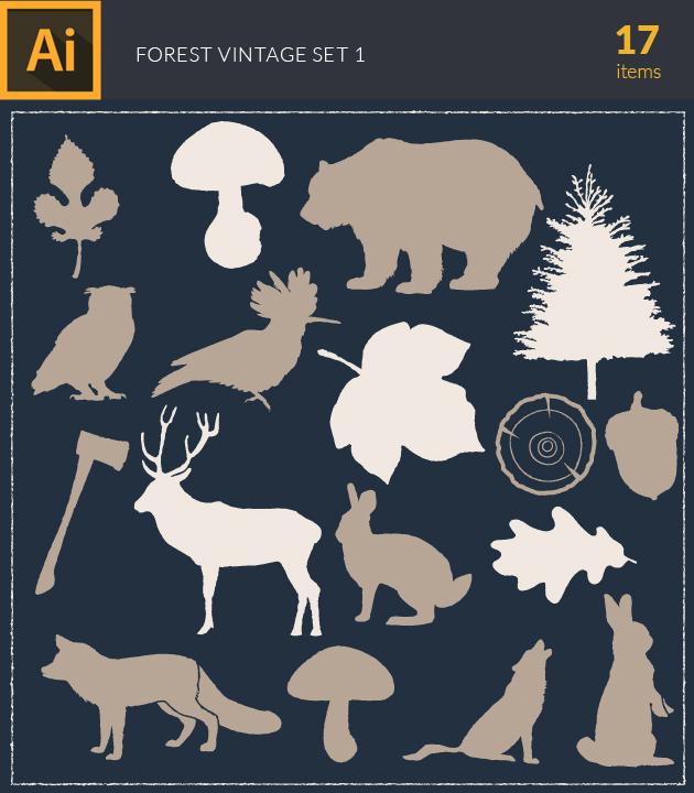 Free T-shirt Design Creator Tool vector forest vintage vector set1