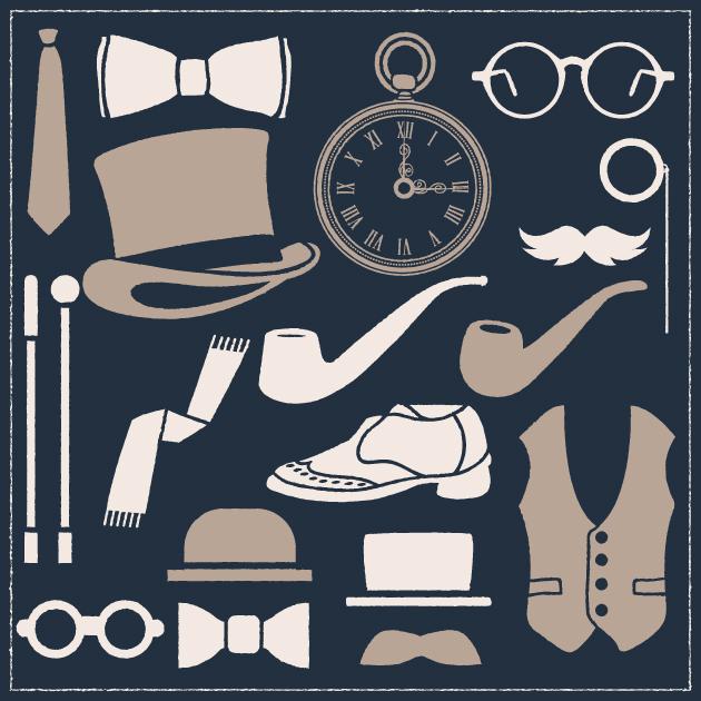 Free T-shirt Design Creator Tool vector gentleman apparel vintage vector set 1