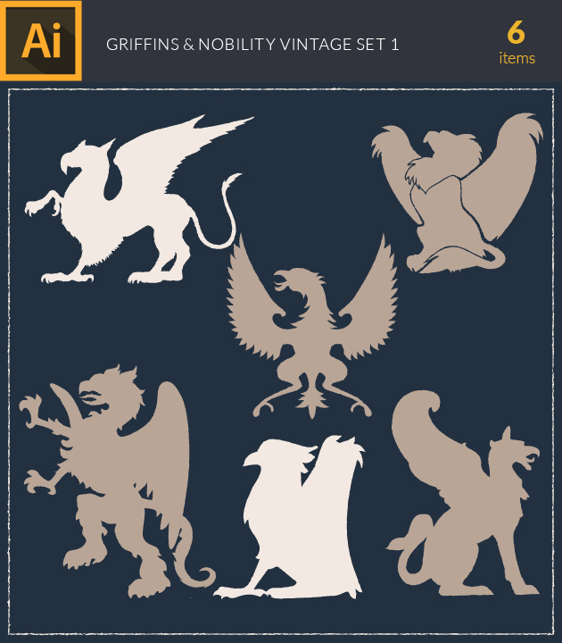 Free T-shirt Design Creator Tool vector griffins and nobility vintage vector set 1