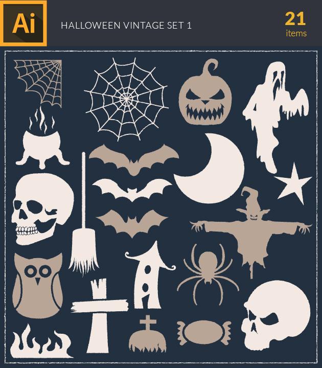 Free T-shirt Design Creator Tool vector halloween vintage vector set 1