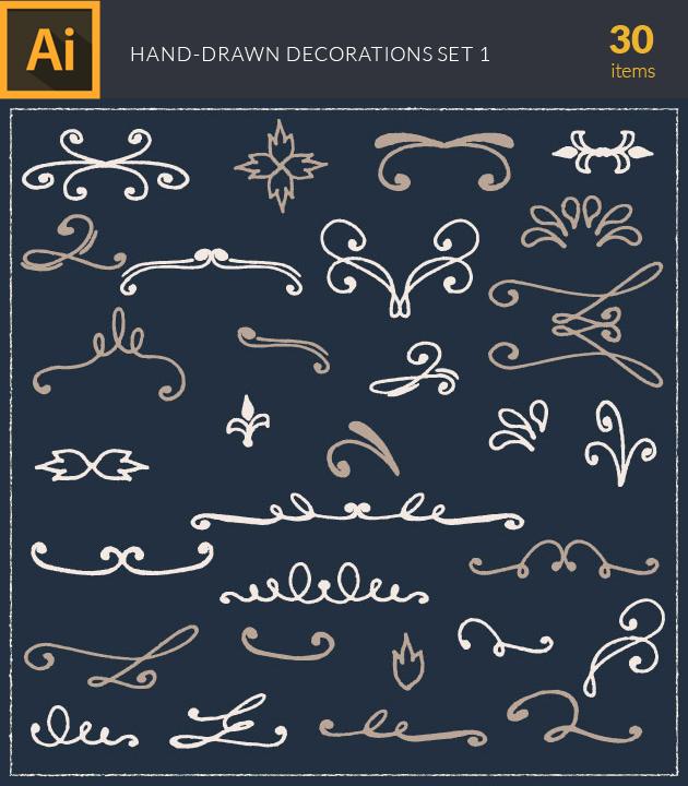 Free T-shirt Design Creator Tool vector hand drawn decorations 2 vintage vector set 1