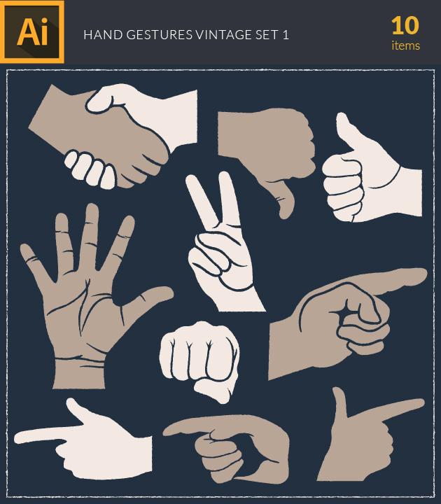 Free T-shirt Design Creator Tool vector hand gestures vintage vector set 1