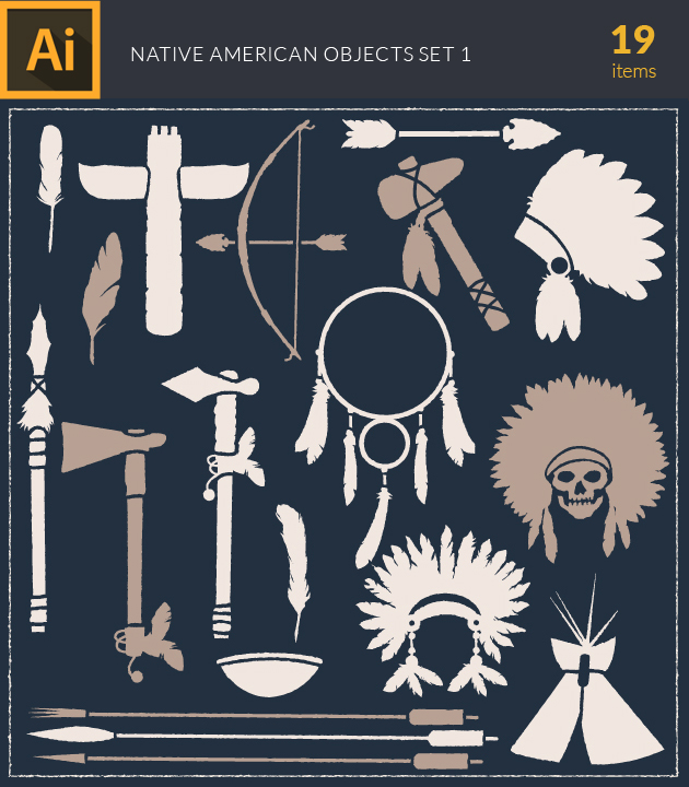 Free T-shirt Design Creator Tool vector indian na objects vintage vector set 1