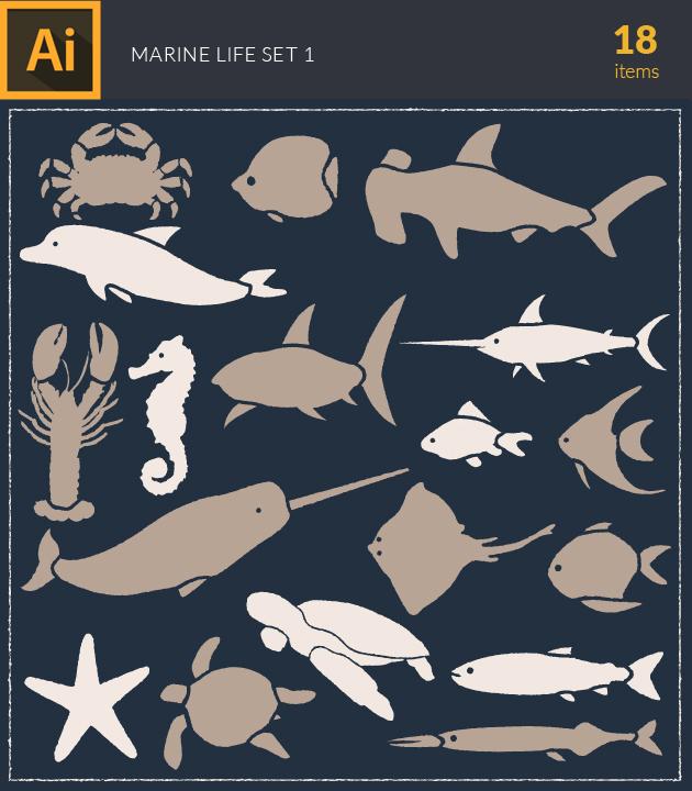 Free T-shirt Design Creator Tool vector marine life underwater vintage vector set 1