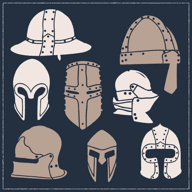 Free T-shirt Design Creator Tool vector medieval helmets vintage vector set 1