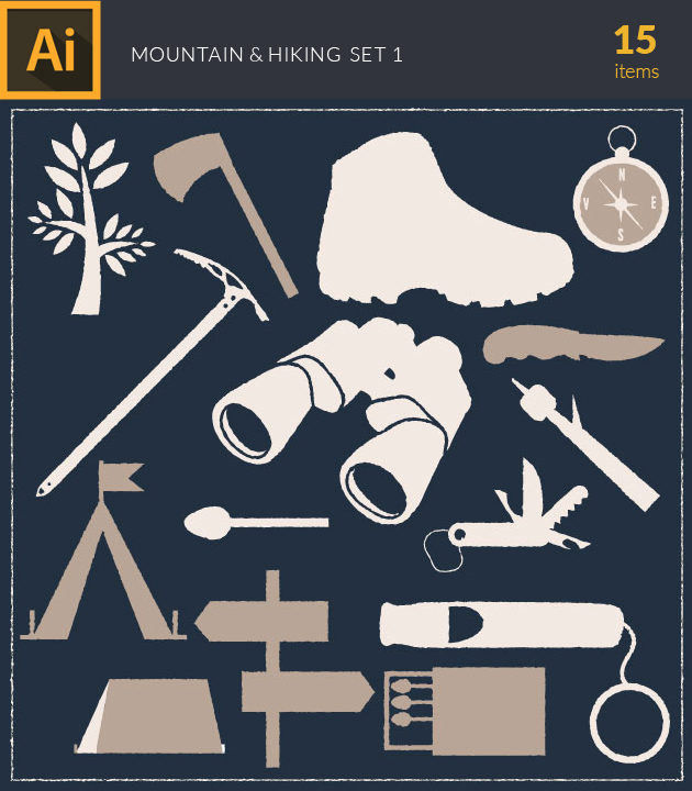 Free T-shirt Design Creator Tool vector mountain and hiking vintage vector set 1
