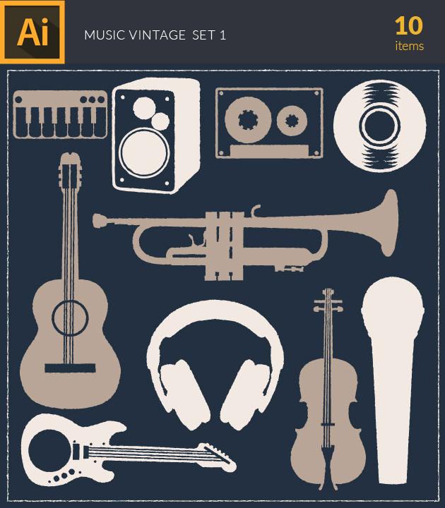 Free T-shirt Design Creator Tool vector music vintage vector set 1