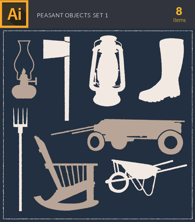 Free T-shirt Design Creator Tool vector peasant objects vintage vector set 1