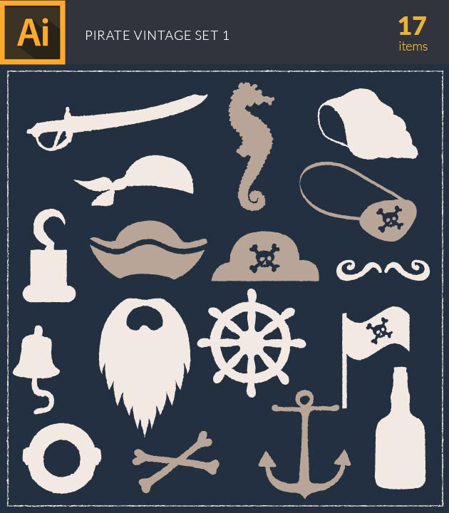 Free T-shirt Design Creator Tool vector pirates vintage vector set 1